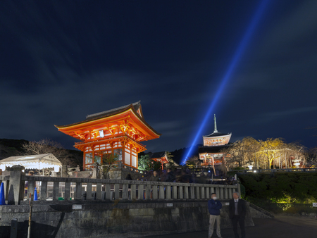lightup: KYOTO, JAPAN -NOV 30, 2012: Light up at Nio-mon gate, the main entrance of the Kiyomizu-dera temple at night. Kiyomizudera is part of the Historic Monuments of Ancient Kyoto, Japan.