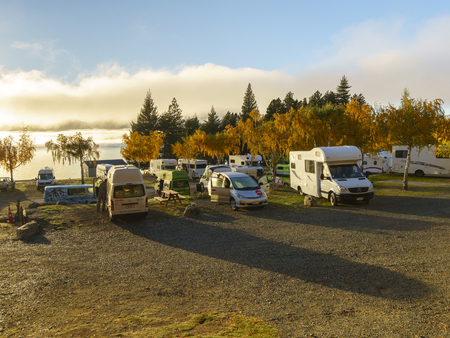 Mobile Home Park LAKE TEKAPO NEW ZEALAND MAY 6 2016 Group