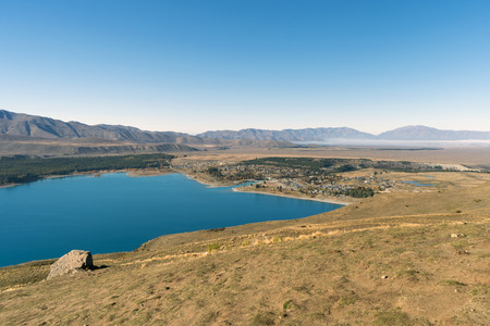 tekapo: Lake Tekapo on the northern edge of Mackenzie Basin viewed from Mt John Observatory, Canterbury, South Island, New Zealand. Stock Photo