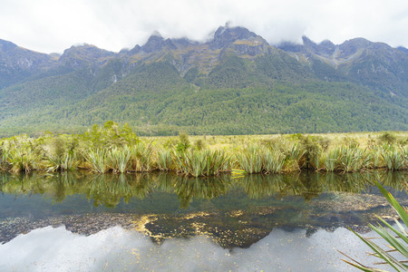 The Mirror Lake, a small lake provides outstanding reflective views of the Earl Mountains on the Te Anau-Milford Sound Highway, Fjordland National Park, New Zealand.