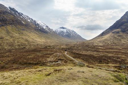 glencoe: Walking trails to Glen Etive, Glencoe valley, Scottish Highland, Scotland. United Kingdom