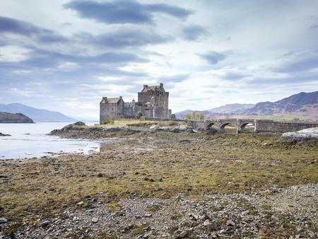 kyle: Eilean Donan Castle in cloudy day, Kyle of Lochalsh, Highland, Scotland, United Kingdom.