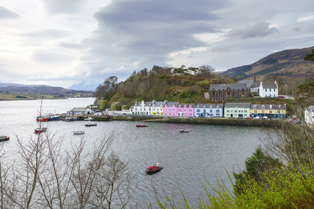 Colorful buildings at Portree harbour, Portree town, Isle of Skye, Scotland, United Kingdom.