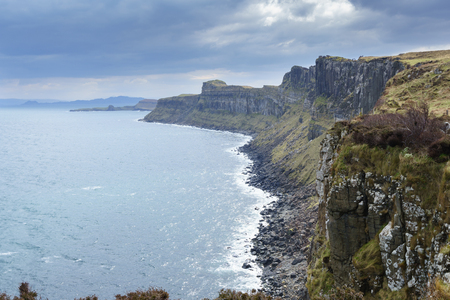 Cliffs near Kilt rock waterfall, Isle Of Skye, the Inner Hebrides of Scotland, United Kingdom.