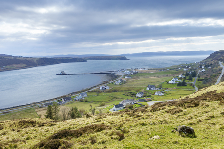 The village of Uig and Uig Bay, Isle of Skye, Scotland, United Kingdom. Seen from the road across the Trotternish. Stock Photo