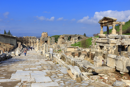 Curetes street in Ephesus, the ancient Greek city in Turkey. Ephesus was famed for the Temple of Artemis one of the Seven Wonders of the Ancient World. Stock Photo