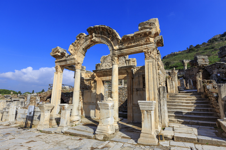 hadrian: Temple of Hadrian in Ephesus, Turkey. Ephesus was famed for the Temple of Artemis one of the Seven Wonders of the Ancient World.