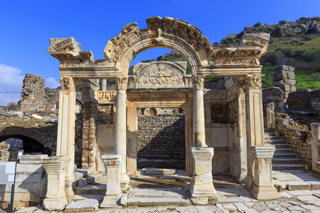 Temple of Hadrian in Ephesus, Turkey. Ephesus was famed for the Temple of Artemis one of the Seven Wonders of the Ancient World.