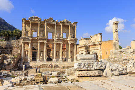 The Library of Celsus at the end of Curetes street in Ephesus, Turkey. Ephesus was famed for the Temple of Artemis one of the Seven Wonders of the Ancient World.