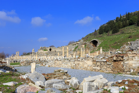 architecture monumental: Bath of Varius near Verulanus square in the Ephesus, an ancient Greek city in Turkey. Stock Photo