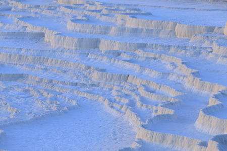 formations: Travertine pools and terraces in evening at Pamukkale, Denizli, Turkey. Stock Photo