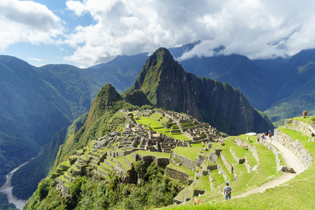 Machu Picchu, the lost city of the Andes. Machu Picchu is located above the Sacred Valley northwest of Cuzco, Machupicchu District, Urubamba Province, Cusco Region, Peru. Stock Photo