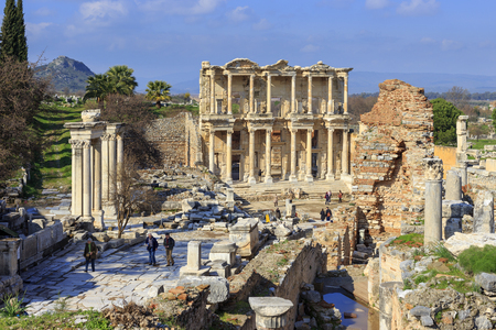 EPHESUS, TURKEY -JAN 28, 2013: The Library of Celsus at the end of Curetes street in Ephesus, Turkey. Ephesus was famed for the Temple of Artemis one of the Seven Wonders of the Ancient World.