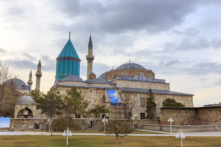 KONYA, TURKEY -JAN 29, 2013: Konya Mevlana Museum and the mausoleum of Mevlana (also known as Green Mausoleum or Green Dome). Mevlana Celaleddin-i Rumi is a sufi philosopher and mystic poet of Islam.