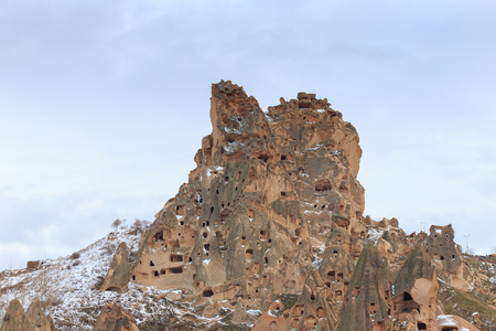 Geological rock formations of volcanic tuff in Goreme valley, Central Anatolia, Turkey.