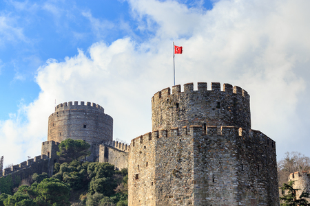 Rumelihisari (also known as Rumelian Castle and Roumeli Hissar Castle), a medieval fortress located on a hill on the European banks of the Bosphorus strait, Istanbul, Turkey. Stock Photo