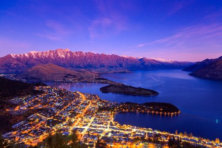 Aerial view of Queenstown downtown at dusk twilight, South Island, New Zealand Stock Photo