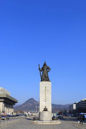 SEOUL, SOUTH KOREA - DEC 18, 2012 : Statue of Admiral Yi Sun-shin in Gwanghwamun Square in Seoul, South Korea. Admiral Yi Sun-shin who is leader for fighting with Japanese military. Editorial