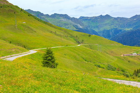 Scenic landscape at Passo San Marco or San Marco Pass in summer, Lombardia, Italy. Stock Photo
