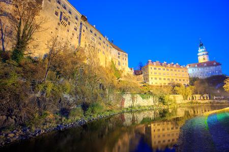 Night at Cesky Krumlov castle on the Vltava riverbank in evening, Cesky Krumlov (Bohemian Crumlaw), a small city in the South Bohemian Region, Czech Republic. (UNESCO World Heritage Site) 에디토리얼