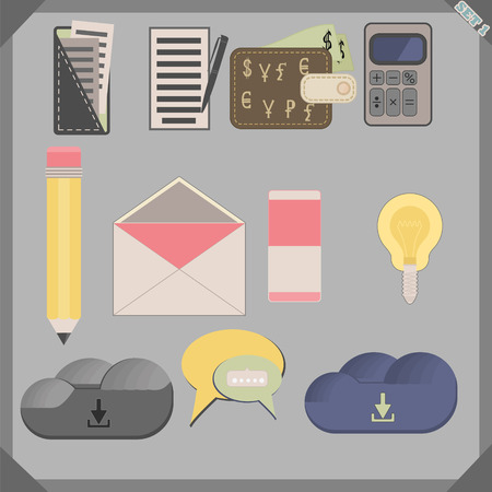 Flat icon set for phone, pc, sate