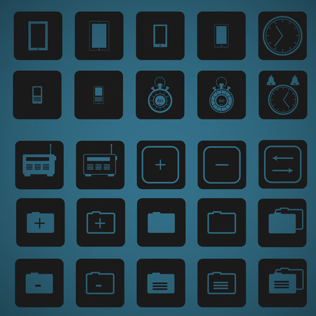 clock radio: 25 flat icons for phone and computer
