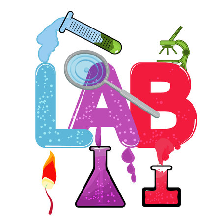 bunsen burner: Medical laboratory infographics whith red, purple, blue colore
