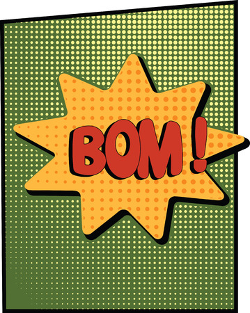 abstract boom blank speech bubble pop art, comic book on green background vector illustration