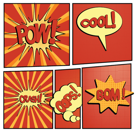 abstract boom blank speech bubble pop art, comic book on yellow background vector illustration Ilustração
