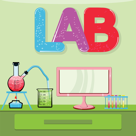 Medical laboratory infographics whith red, purple, blue colore