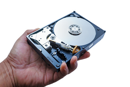 hard drive crash: Illustration of Hard disk drive in hand. HDD isolated on white background Stock Photo