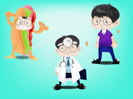 stethoscope boy: a man in different uniform