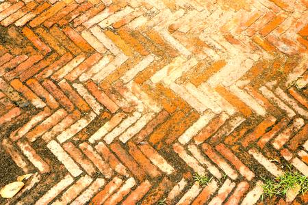 Orange brick floor Stock Photo