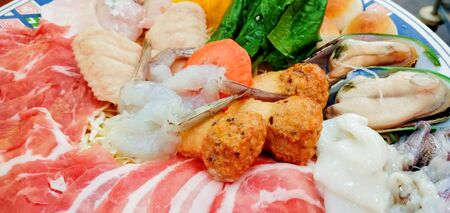 Seafood set, close-up photos in restaurants