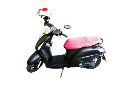 Motorcycle and helmet on a separate white background