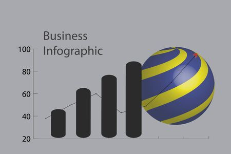 The picture shows a graph of business infographic