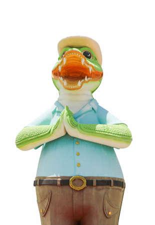 The crocodile statue that raises hands