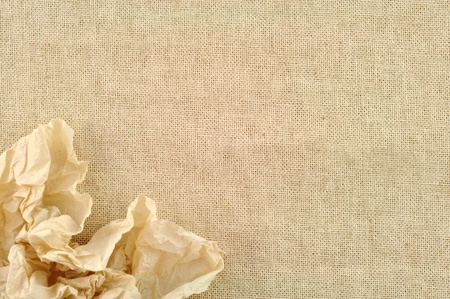 burlap texture: frame made of Tissue with a canvas of burlap Stock Photo