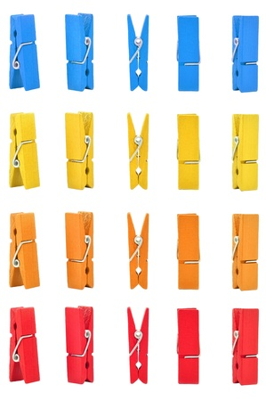 clothes peg: wood clothes pin colors with Path Stock Photo