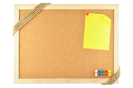 noteboard: sticky note pinned on cork notice board
