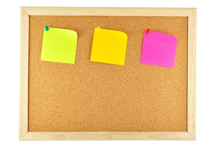 noteboard: three sticky note pinned on cork notice board Stock Photo