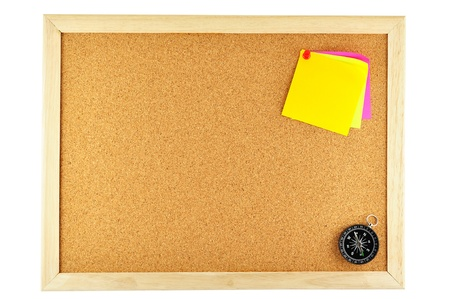 noteboard: sticky note pinned and compass Stock Photo