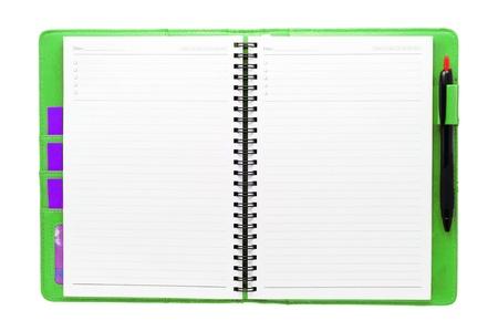 Offene leere Notiz Buch grüne Farbe Standard-Bild - 12552737