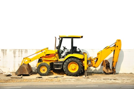 Wheel loader machine  on the road photo