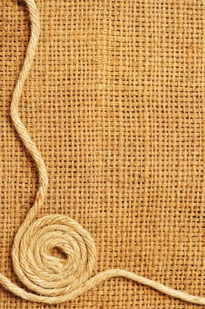 fibrous: frame of ropes Roll on sack Stock Photo