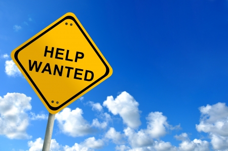 help wanted on bluesky Stock Photo - 12880436