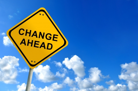 road ahead: change ahead sign on bluesky  Stock Photo