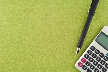 Calculator pen auf Stoff Standard-Bild - 15761296