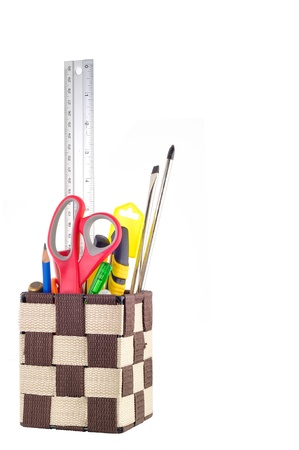 Stationery box And Tools Isolated Stock Photo - 15761282