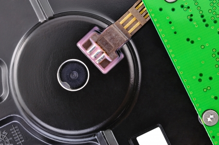 fixed disk: hard disk closeup circuit board Stock Photo